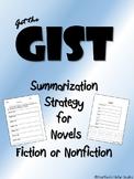 Get the GIST Summary Set Graphic Organizer Novel Fiction Nonfiction