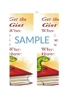 Get the Gist Bookmarks to Summarize / Theme / Common Core