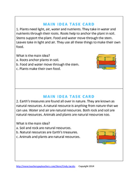 Get the Main Idea Task Cards