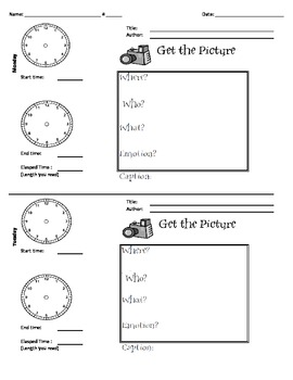 Get the Picture Reading Log with Elapsed Time Narrative