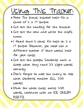 Get the SCOOP on Sight Words! Visual Tracker