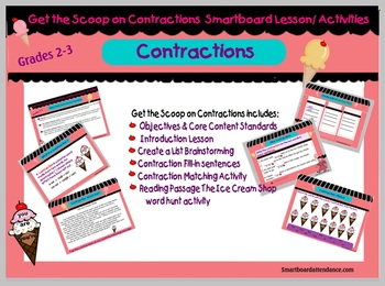 Get the Scoop on Contractions: Smartboard Lesson/Activities