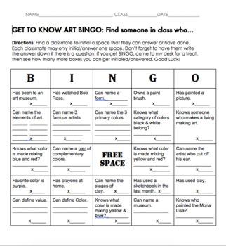 Get to Know ART BINGO