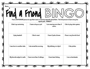 Get to Know Each Other Back to School Selfie Guess Who Bingo