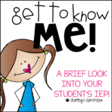 Get to Know Me! A Brief Look Into Your Student's IEP | Ele