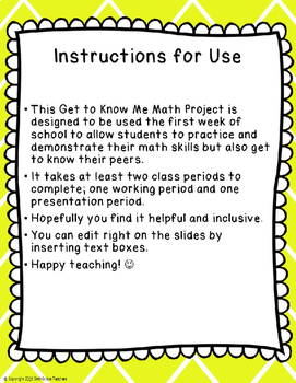 Get to Know Me Math Project