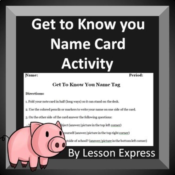 First Day of School: Get to know you name card activity