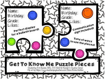 """Get to Know Me"" Puzzle Pieces"