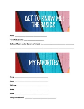 Get to Know Me Questionnaire