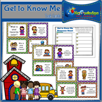 Get to Know Me Task Cards & Response Sheet #BTS #BackToSchool