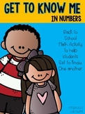 Get to Know Me in Numbers (Back to School Math Activity)