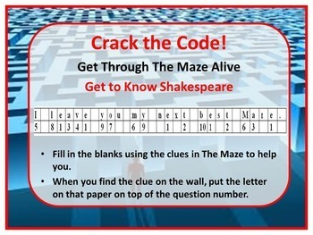 Get to Know Shakespeare Kinesthetic Maze