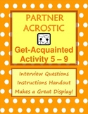 Getting to Know You Activity: Partner Acrostic Poster 5-9