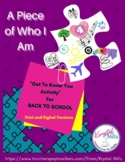 Get to Know You Activity for Back to School: A Piece of Who I Am