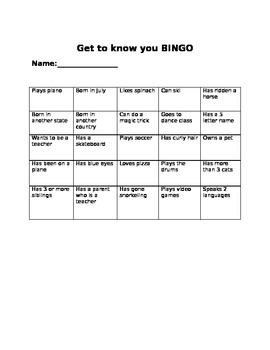 Get to Know You BINGO!
