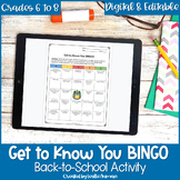 Get to Know You BINGO Back to School Activity for Middle S