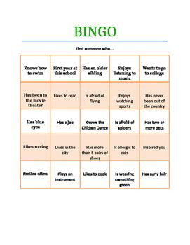 Get to Know You BINGO- Ice Breaker
