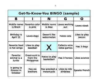 Get to Know You BINGO card creator
