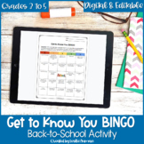 Get to Know You BINGO for Upper Elementary Back to School