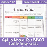 Get to Know You BINGO or People BINGO for Upper Elementary Back to School Game