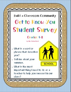 Get to Know You! Back to School Student Survey Grades 4-8