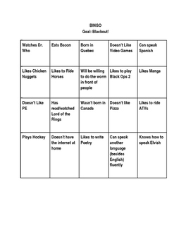 Get to Know You Bingo