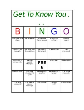 Get to Know You Bingo Icebreaker