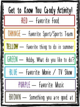 Get to Know You Candy Game