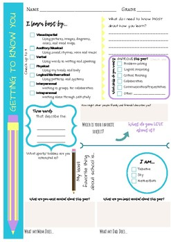Get to Know You First Day Page