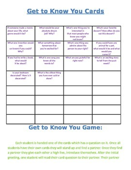 Get to Know You Game