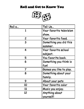Get to Know You Game (Beginning of the year, Speech Therapy, Small Groups)