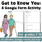 Get to Know You Google Form: A First Day of School Activity (Back to School)