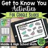 Get to Know You Google Slides Activities for Math Distance