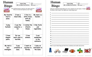 Get to Know You Human Bingo Activity - English Version