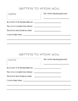 Get to Know You Icebreaker Handout (English/ELA theme)