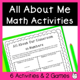 Get to Know You Math Activities & Games ~ Back to School ~