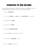 Get to Know You Questions for 5th Grade