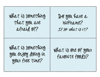 Get to Know You Questions- great for Back to School!