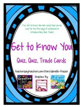 Get to Know Me Quiz, Quiz, Trade Cards