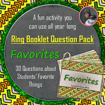 """Get to Know You Ring Booklet """"Favorites"""" Questions Activity"""