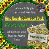 "Get to Know You Ring Booklet ""Favorites"" Questions Activity"