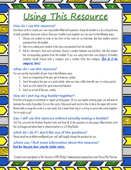 """Get to Know You Ring Booklet """"Random"""" Questions Activity"""