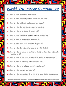 A list of would you rather questions