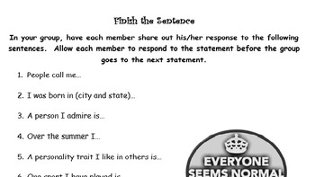 Get to Know You Sentence Starters
