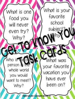 Get to Know You Task Cards! Perfect for the first day of school!