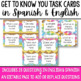 Get to Know You Task Cards in Spanish and English