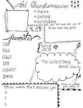 Get to Know You Worksheet for Art Class