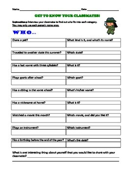 Get to Know Your Classmates Questionnaire