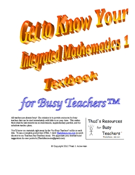 Get to Know Your Integrated Mathematics 1 Textbook for Busy Teachers