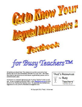 Get to Know Your Integrated Mathematics 2 Textbook for Busy Teachers